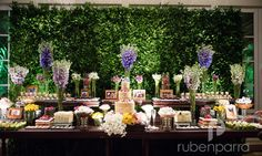 nude wedding cake by cuquita green wall for desserts' table  Mynt (pin goes to decorator's pinterest)
