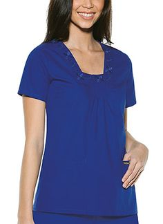 Baby Phat Square Neck Top in Blue Royale Square Neck Top  Fabric: Brushed Cotton/Poly Poplin $26.99 #scrubs #nurses #doctors #medicaloutlet #babyphat Baby Phat Scrubs, Nursing Board, Square Neck Top, Nurses, Doctors, Poplin, Tunic Tops, V Neck, Fabric