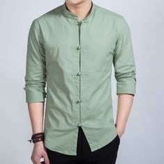Fantastic Frog Button Stand-up Collar Shirt - Green - Chinese Shirts & Blouses - Men Chinese Collar Shirt, Chinese Shirt, Stand Collar Shirt, Collar Shirts, Shirt Blouses, Collars, Mens Designer Shirts, Designer Clothes For Men, Formal Shirts For Men