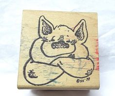 Rubber Stampede pig rubber stamp Suzy's Zoo Wood Mounted Vintage Smiling pet