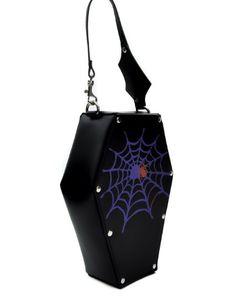 Spider Web Coffin Purse Gothic Make up Bag