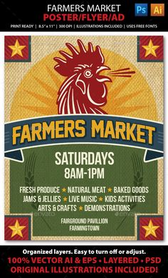 Farmers Market Event Poster, Flyer or Ad Template #design Download: http://graphicriver.net/item/farmers-market-event-poster-flyer-or-ad/12433937?ref=ksioks