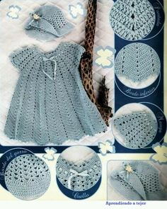 FREE Crochet Pattern (in Spanish) - Crochet dress and hat Crochet Designs Free: A beautiful crocheted dress for the princess ! Ravelry: Seafoam Sunsuit with Bloomers pattern by Maria Bittner-pattern must be purchased. images attach c 4 82 254 Today I brin Baby Girl Crochet, Crochet Baby Clothes, Crochet For Kids, Knit Crochet, Crochet Hats, Diy Crafts Crochet, Crochet Projects, Knitting Patterns, Crochet Patterns
