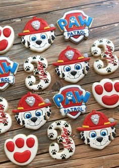 Bolo Do Paw Patrol, Torta Paw Patrol, Paw Patrol Cupcakes, Paw Patrol Birthday Decorations, Paw Patrol Birthday Theme, 4th Birthday Parties, 3rd Birthday, Royal Icing Cookies, Birthday Cookies