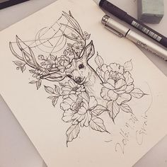 Breathtaking picture result at hand this drawing from bouquet with deer antlers . - Breathtaking picture result at hand this drawing from bouquet with deer antlers - Body Art Tattoos, Tattoos, Ink Art, Sketch Book, Drawings, Cute Tattoos, Tattoo Drawings, Ink, Deer Tattoo