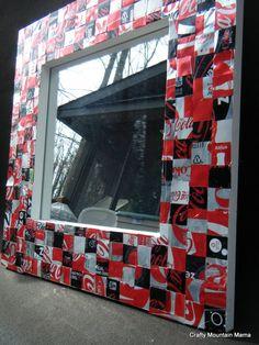"Fabulous Coca Cola Can Mirror, Handmade Frame, 12"" Mirror, Resin Coating...WOW. $95.00, via Etsy."