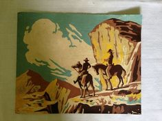 """Vintage 1950's Paint By Number Western Cowboy - 8"""" x 10"""" Unframed Painting"""