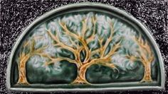 Hand carved art tiles and vessels. Art Tiles, Mosaic Art, Craftsman Tile, Panel Art, Quatrefoil, Garden Ideas, Hand Carved, Arch, Trees