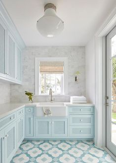 Blue Laundry Rooms, Laundry Room Cabinets, Blue Cabinets, Laundry Room Design, Kitchen Decor, Kitchen Design, Interior Exterior, Interior Design, House Tours
