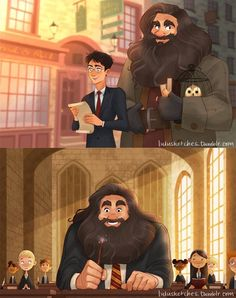 Hagrid at Hogwarts this is so cute! { I love that harry takes hagrid to hogsmead how hargid did for him all those years before Harry Potter Fan Art, Harry Potter World, Blaise Harry Potter, Mundo Harry Potter, Lily Potter, Harry Potter Universal, Harry Potter Fandom, Harry Potter Memes, Potter Facts