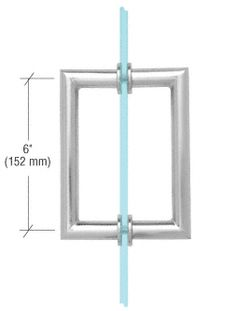 """MT8X8CH - CRL Polished Chrome 8"""" MT Series Round Tubing Mitered Corner Back-to-Back Pull Handle"""