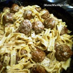 Meatballs Stroganoff - Easy & Delicious with premade Italian meatballs, spices, cream, beef broth & sour cream. Oh, and don't forget the noodles!
