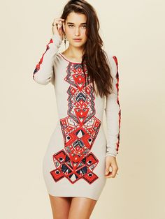 Free people Aztec Princess Bodycon Dress in Red (toast) | Lyst