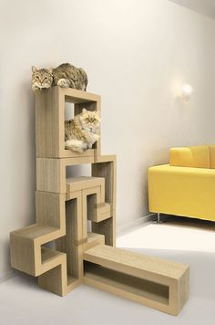 Katris Cat Scratching Block/Modular Furniture/Cat Tree (Bundle of in Pet Supplies > Cat Supplies > Cat Furniture Condo Furniture, Modular Furniture, Furniture Deals, Furniture Design, Cat Tree Condo, Cat Condo, Cool Cat Trees, Cool Cats, Indoor Outdoor
