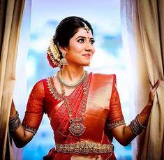 50 Latest Silk Saree Blouse Designs Catalogue 2019 - Red Pattu Saree Blouse With Tulle Sleeves - Kerala Wedding Saree, Bridal Sarees South Indian, Kerala Bride, South Indian Bride, South Indian Actress, Saree Wedding, Tamil Wedding, Wedding Attire, Wedding Bride