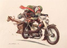 Gnome on motorcycle.  Kjell Einar Midthun