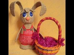 Weaving from newspapers. Easter bunny. Master Class.