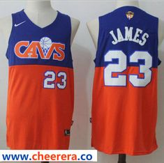best loved e37ec 03bac Nike Cavaliers  23 LeBron James Blue Orange The Finals Patch NBA Swingman  Jersey