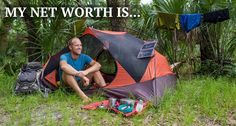 Living off the land, in a tent, dumpster diving. Dumpster Diving, Living Off The Land, Net Worth, Outdoor Gear, Countryside, Tent, Education, Travel, Store