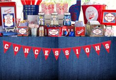 Concessions Banner, Instant Download, DIY, Printables, Banners, Baseball party, Pennant Flags, Buffet Table Decor