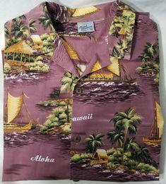 cc367349 Royal Creations Hawaiian Shirt Hawaii Aloha 2XL XXL Canoe Huts Purple  #RoyalCreations #Hawaiian