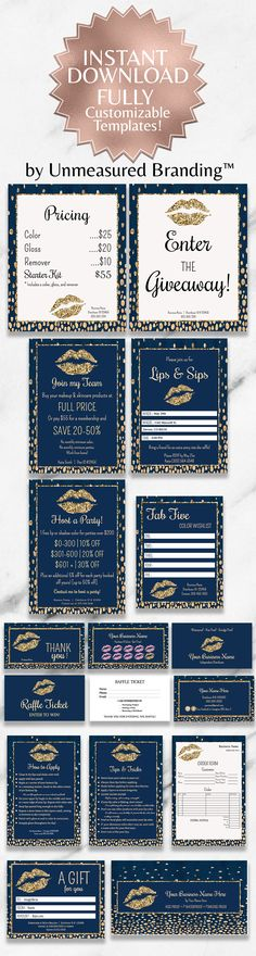 LipSense. LipSense Business Cards. LipSense Business Cards Bundle. Lipsense Business Cards, Navy Gold, Navy Blue, Fab Five, Senegence Makeup, Kissable Lips, Raffle Tickets, Pure Romance, Host A Party