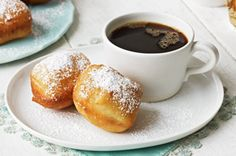 Sour Cream Beignets recipe, 1 pkg active dry yeast, 1/4 cup sugar (use 1 tsp for yeast), 1/4 cup warm water, 1 cup milk, 1 cup sour cream, 1 tsp vanilla, 1/2 tsp baking soda and salt, 4 1/2 cups flour and 3/4 cup powdered sugar for dusting