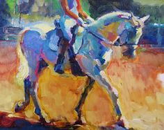 Colorful Connections Equine Dressage Horse Oil Painting