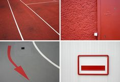 Rote Fotografien mit Linien - Red photos with lines