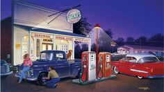 Oscar's General Store Gas Statiion by Bruce Kaiser, 18 x 12 Art on Wood OR Metal, Classic Cars Hot Rods, vintage garage wall decor LS319-MGL by HomeDecorGarageArt on Etsy