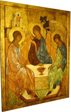 Trójca Święta ikona Andrzeja Rublowa, pisana na zamówienie przez Ewę Kociuba - konserwator dzieł sztuki. Zobacz więcej zdjęć, zamów ikonę.