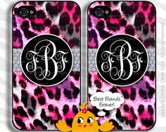 Leopard BFF iPhone Case Cover 4 & 5 Samsung Galaxy s3 or s4 Best Friends Forever Monogram Logo Pink Black