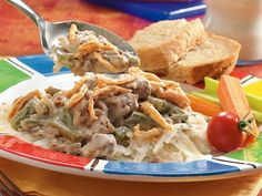 Slow Cooker Meat and Potato Casserole-substitute ground beef for ham, use rice milk and an allergy free creamy mushroom soup...