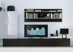 Jesse open wall unit composition consists of a wide floor standing unit, a wide x high wall-hanging unit , and a wide hanging panel with fixed shelves. Any part of this modular wall unit is available on its own, & we have Contemporary Tv Units, Modern Wall Units, Contemporary Furniture, Living Room Inspiration, Furniture Inspiration, Interior Walls, Interior Design, Living Room Wall Units, Living Area