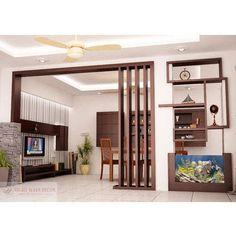 Wood Partition, वुड पार्टीशन, Wood Partition - Right Ways Decor, Bengaluru Wood Partition Design, Living Room Partition Design, Living Room Tv Unit Designs, Ceiling Design Living Room, Home Room Design, Home Interior Design, Interior Decorating, House Design, Wall Partition