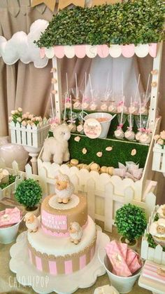 adorable little lamb birthday party! The cake is gorgeous! See more party ideas and share yours at An adorable little lamb birthday party! The cake is gorgeous! See more party ideas and share yours at Baby Shower Cakes, Baby Shower Parties, Baby Shower Themes, Baby Shower Decorations, Baby Boy Shower, Baby Girl Birthday Cake, Baby Girl Baptism, Baptism Party Girls, Pink Sheep