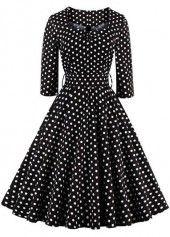 High Waist Dot Print Sleeveless A Line Dress on sale only US$32.06 now, buy cheap High Waist Dot Print Sleeveless A Line Dress at lulugal.com