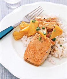 Maple-Glazed Salmon With Pineapple - this was so good!  the pineapple could be mango.  super quick and easy.