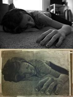 6) Foreshortening is the concept of implying 3 dimensions into art. the closer parts of her (hand, arm, fingers) are larger and the limbs far away are smaller; however we perceive her as a normal sized/proportioned human being, and not one with a giant arm and tiny leg. this is the use of foreshortening