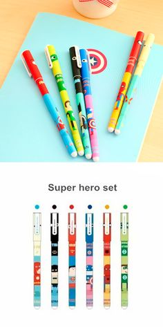 Stationery addicts, assemble! The perfect gift for all us comic book geek, each of these superhero themed gel pens feature a superhero: Superman, Spider Man, Captain America, Green Lantern, Batman, and the Flash.