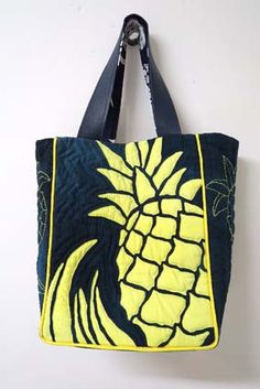 パイナップルのツートーンバッグ - メグとハワイアンキルトな日々
