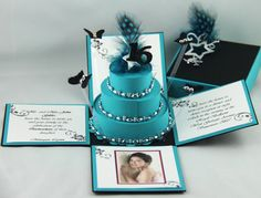 Turquoise & Black16th Birthday Exploding Box Invitations..can be customized.