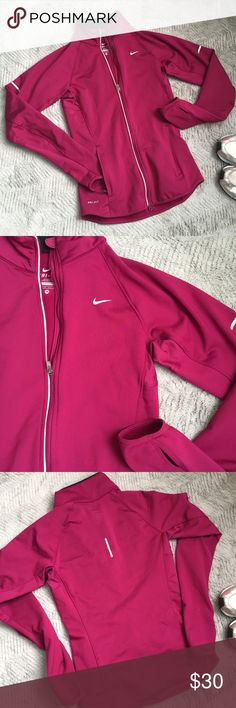 Raspberry Nike Dri Fit Active Jacket Perfect condition Raspberry color Nike Dri Fit jacket with grayish-silver details. Hidden zipper pockets, thumb holes in sleeves. Fully thin micro fleece lined. Nike Jackets & Coats