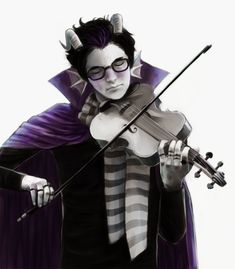 I will never not repin, reblog, or like homestuck characters playing musical instruments  (That's a viola right?  Looks too big to be a violin)