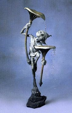 Bronze Water Features sculpture by artist David Goode titled: 'Goblin with Mushroom'