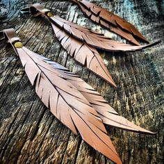 Leather Feather Keychain / Leather Key Chain by RusticMoonLeather