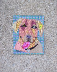 Yellow Lab raw edged mini quilt made of pieces of scrap fabric