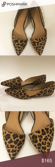 J crew leopard print Dorsay flats ✳️An open d'Orsay flat in super-luxurious calf hair finished with a sloping, asymmetrical toe. In other words, the pair that will banish your sandal separation anxiety.  ✅Leather upper: Printed Calf hair. Beautiful leopard print flats. A great classic and a must have animal print wardrobe essential!!  ✅Condition: Gently used. Slight wear seen on the bottom as pictured. Clean insoles.  ✅Brand: J. Crew J. Crew Shoes Flats & Loafers