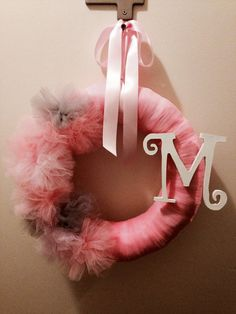 Baby shower tulle wreath by HandcraftedByW on Etsy, $30.00