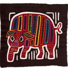 Выдающийся Свинья Мола - ручного шитья Куна Индийская Обратный Аппликация текстильного искусства